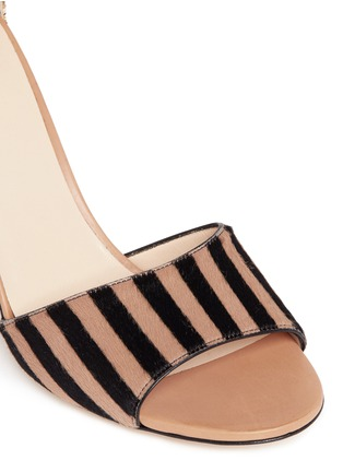 Detail View - Click To Enlarge - Frances Valentine - 'Blanche' glitter trim stripe print calfhair sandals