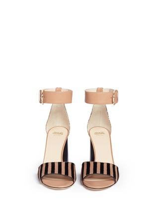 Front View - Click To Enlarge - Frances Valentine - 'Blanche' glitter trim stripe print calfhair sandals