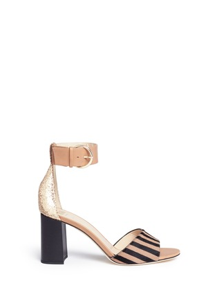 Main View - Click To Enlarge - Frances Valentine - 'Blanche' glitter trim stripe print calfhair sandals