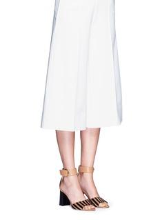 Frances Valentine'Blanche' glitter trim stripe print calfhair sandals