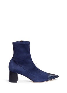 Frances Valentine 'Belle' embossed leather trim suede boots