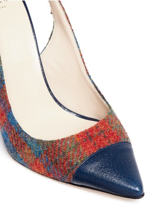 Detail View - Click To Enlarge - Frances Valentine - 'Sandy' plaid tweed slingback pumps