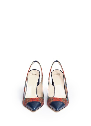 Front View - Click To Enlarge - Frances Valentine - 'Sandy' plaid tweed slingback pumps