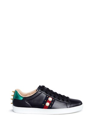 Main View - Click To Enlarge - Gucci - Signature web embellished leather sneakers
