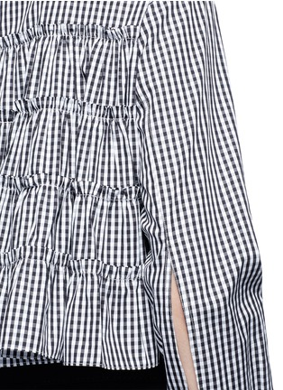 Jourden-Gingham check gathered cropped shirt
