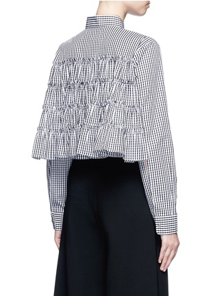 Back View - Click To Enlarge - Jourden - Gingham check gathered cropped shirt