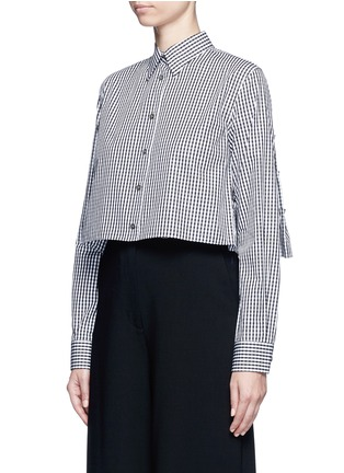 Front View - Click To Enlarge - Jourden - Gingham check gathered cropped shirt