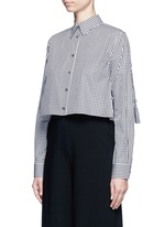 Gingham check gathered cropped shirt