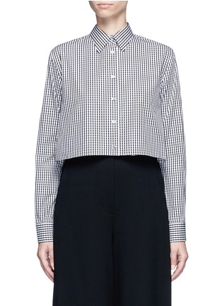 Main View - Click To Enlarge - Jourden - Gingham check gathered cropped shirt
