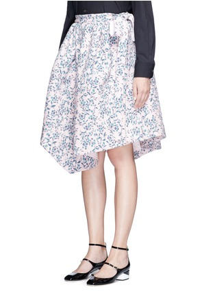 Front View - Click To Enlarge - Jourden - Floral jacquard chenille asymmetric duvet skirt