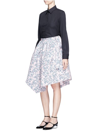 Figure View - Click To Enlarge - Jourden - Floral jacquard chenille asymmetric duvet skirt