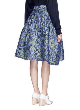 Back View - Click To Enlarge - Jourden - Fil coupé fringe floral jacquard quilted skirt