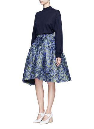 Figure View - Click To Enlarge - Jourden - Fil coupé fringe floral jacquard quilted skirt