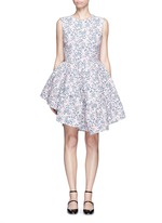 Floral jacquard gathered chenille dress