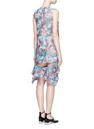 Back View - Click To Enlarge - Jourden - Hologram jacquard cutout ruffle dress