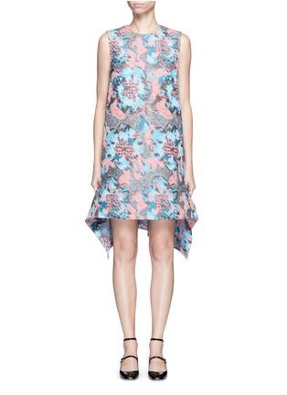 Main View - Click To Enlarge - Jourden - Hologram jacquard cutout ruffle dress