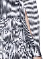 Gingham check gathered shirt dress