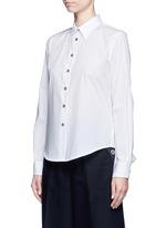 Cutout ruffle cotton shirt