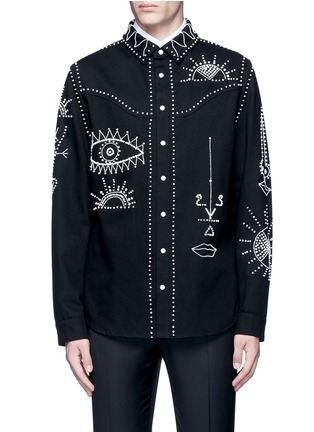 Main View - Click To Enlarge - Valentino - Tribal embellished denim shirt jacket