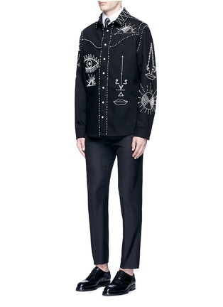 Figure View - Click To Enlarge - Valentino - Tribal embellished denim shirt jacket