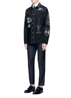 Valentino Tribal embellished denim shirt jacket