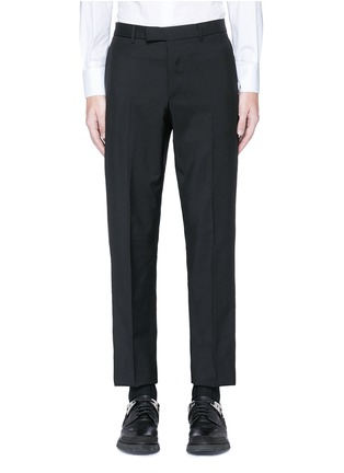 Valentino - Leather stripe wool-Mohair pants