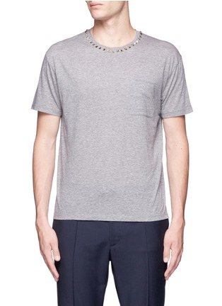 Main View - Click To Enlarge - Valentino - 'Rockstud Untitled' mélange jersey T-shirt