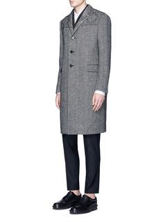 ValentinoStud wool herringbone coat