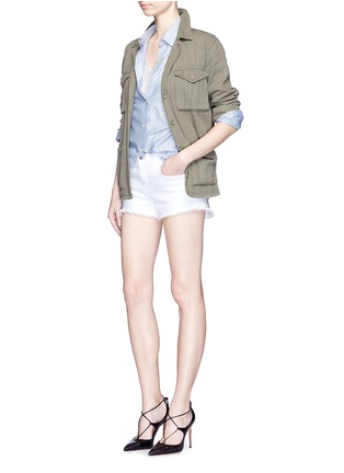 Figure View - Click To Enlarge - L'Agence - 'Zoé' frayed denim Le Vintage shorts
