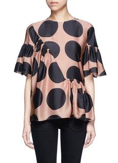 Stella McCartneyPolka dot print pleated silk top