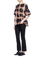 Polka dot print pleated silk top