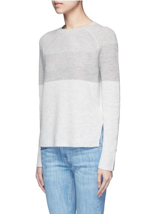Front View - Click To Enlarge - Vince - Colourblock rib wool-cashmere sweater