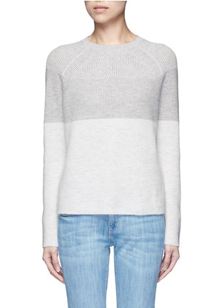Main View - Click To Enlarge - Vince - Colourblock rib wool-cashmere sweater