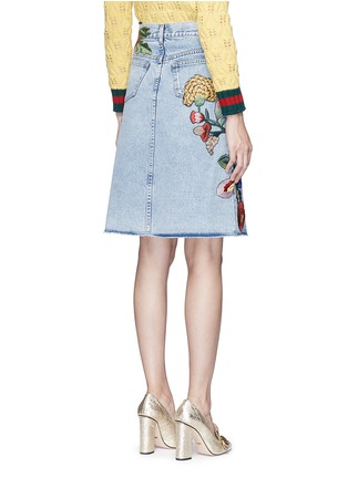 Back View - Click To Enlarge - Gucci - Embroidered washed cotton denim skirt