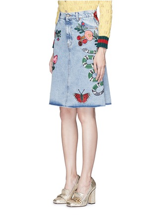 Front View - Click To Enlarge - Gucci - Embroidered washed cotton denim skirt