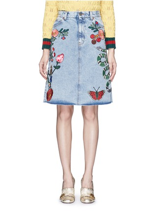 Main View - Click To Enlarge - Gucci - Embroidered washed cotton denim skirt