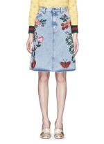 Embroidered washed cotton denim skirt