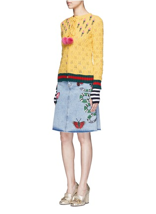 Figure View - Click To Enlarge - Gucci - Embroidered washed cotton denim skirt