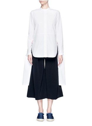 Ports 1961 - Extended sleeve cotton poplin shirt