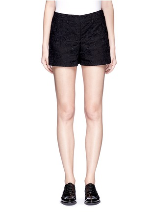 Main View - Click To Enlarge - Theory - 'Micro E' floral lace embroidery linen-cotton shorts