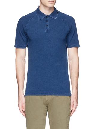 Main View - Click To Enlarge - Denham - 'Joey' raglan sleeve polo shirt