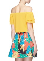 'Whit' ruffle off-shoulder silk cropped top