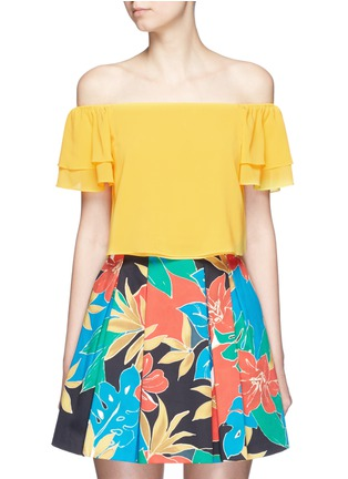 alice + olivia - 'Whit' ruffle off-shoulder silk cropped top