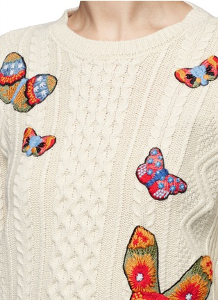Valentino - Embroidered butterfly mixed knit sweater