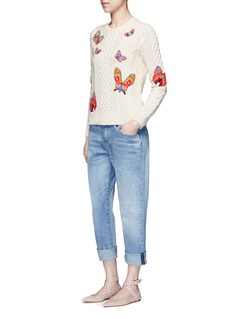 Valentino Embroidered butterfly mixed knit sweater