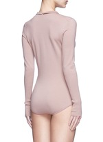 Point collar wool blend knit body suit