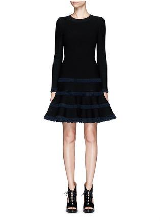 首图 - 点击放大 - ALAÏA - Frise镂空条带装饰混羊毛喇叭连衣裙