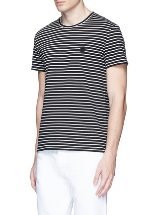 Front View - Click To Enlarge - Alexander McQueen - Skull embroidery stripe jersey T-shirt