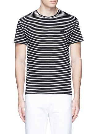 Main View - Click To Enlarge - Alexander McQueen - Skull embroidery stripe jersey T-shirt