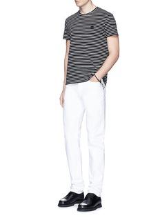 Alexander McQueenSkull embroidery stripe jersey T-shirt
